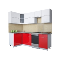 Готовая кухня Мила ГЛОСС 50-12х24 (Белый/ Красный)