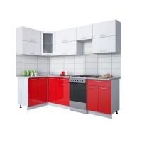 Готовая кухня Мила ГЛОСС 50-12х25 (Белый/ Красный)