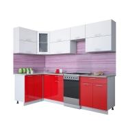Готовая кухня Мила ГЛОСС 50-12х26 (Белый/ Красный)