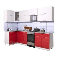 Готовая кухня Мила ГЛОСС 50-12х27 (Белый/ Красный)