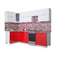 Готовая кухня Мила ГЛОСС 50-12х28 (Белый/ Красный)