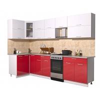 Готовая кухня Мила ГЛОСС 50-12х29 (Белый/ Красный)