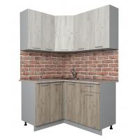 Готовая кухня Лайт 1,2x1,4 (Дуб белый/ Дуб серый)