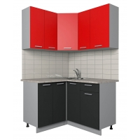 Готовая кухня Лайт 1,2x1,3 (Красный/ Антрацит)