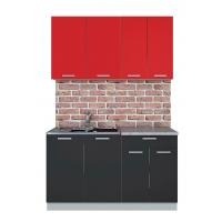 Готовая кухня Лайт 1,4 (Красный/ Антрацит)