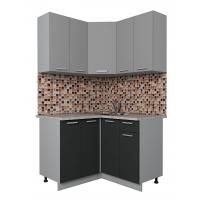 Готовая кухня Лайт 1,2x1,2 (Серебро/ Антрацит)