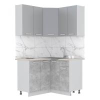 Готовая кухня Лайт 1,2x1,2 (Серебро/ Бетон)