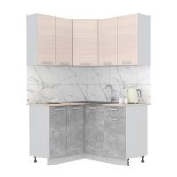 Готовая кухня Лайт 1,2x1,4 (Вудлайн кремовый/ Бетон)