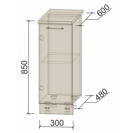 Шкаф нижний 30 см 1 дв.