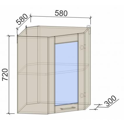 Шкаф верхний угловой с витриной 58х58 см