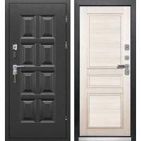 Входная дверь ВИНТЕР с терморазрывом (Черный муар/ Беленый дуб)