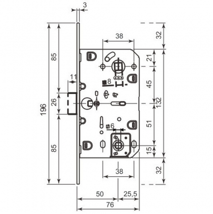 Замок WC магнитный AGB Polaris Графит + ответная планка